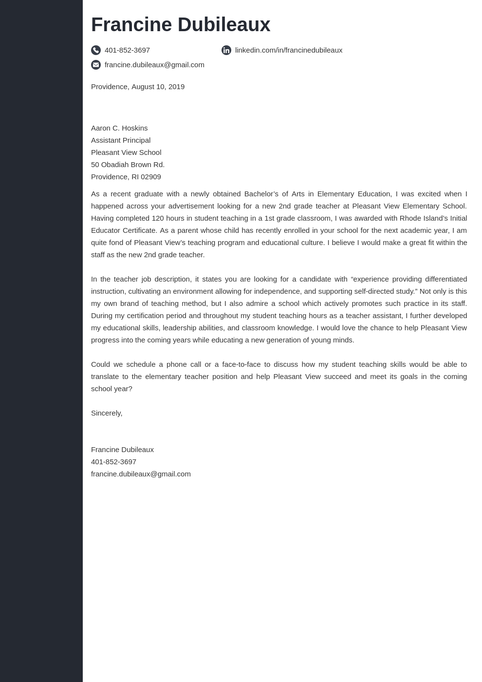 cover letter examples teacher template concept