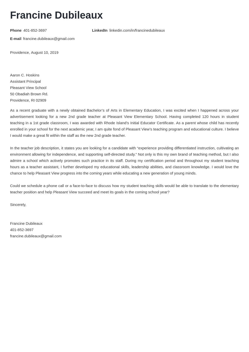 cover letter examples teacher template minimo