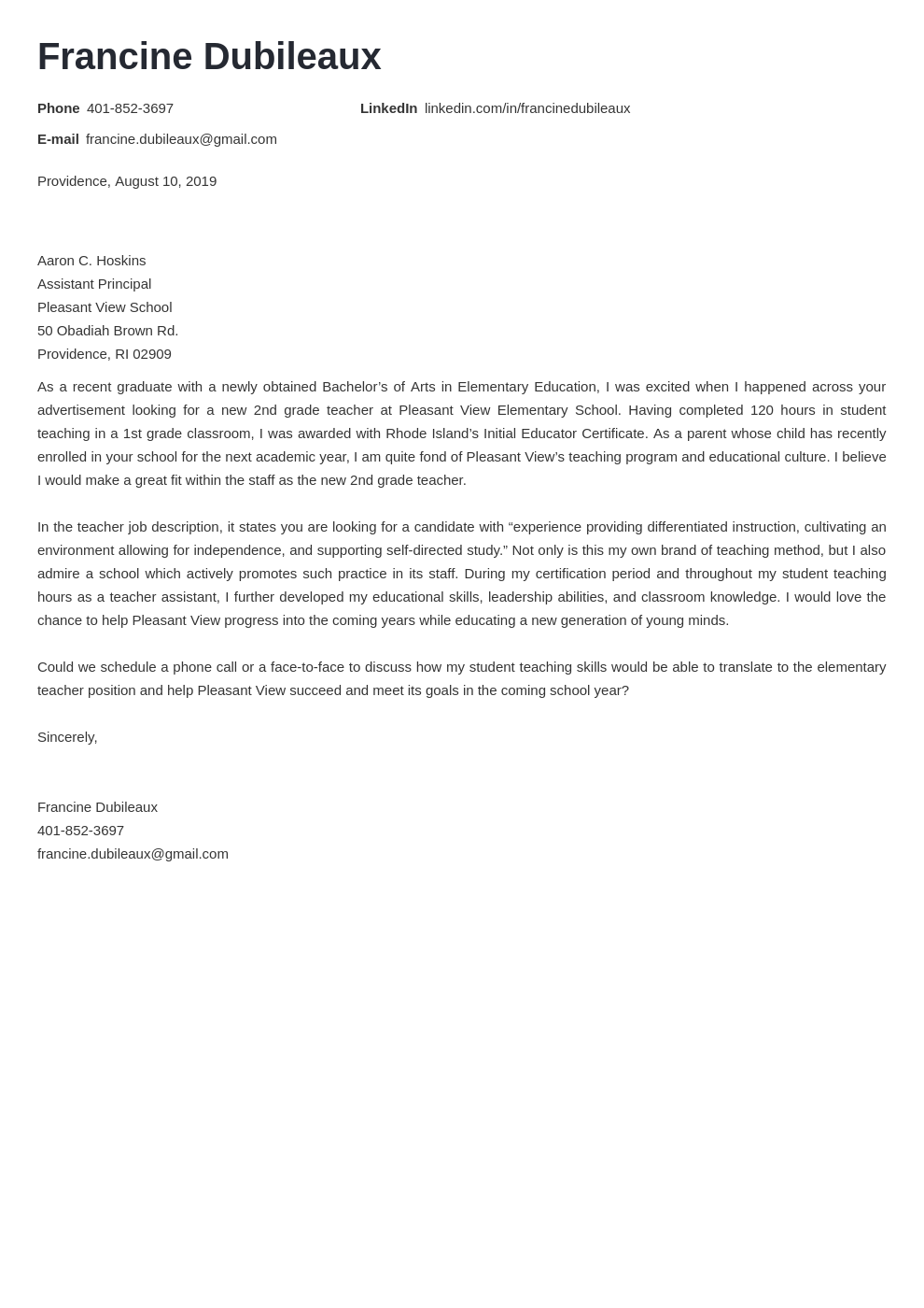 cover letter examples teacher template nanica