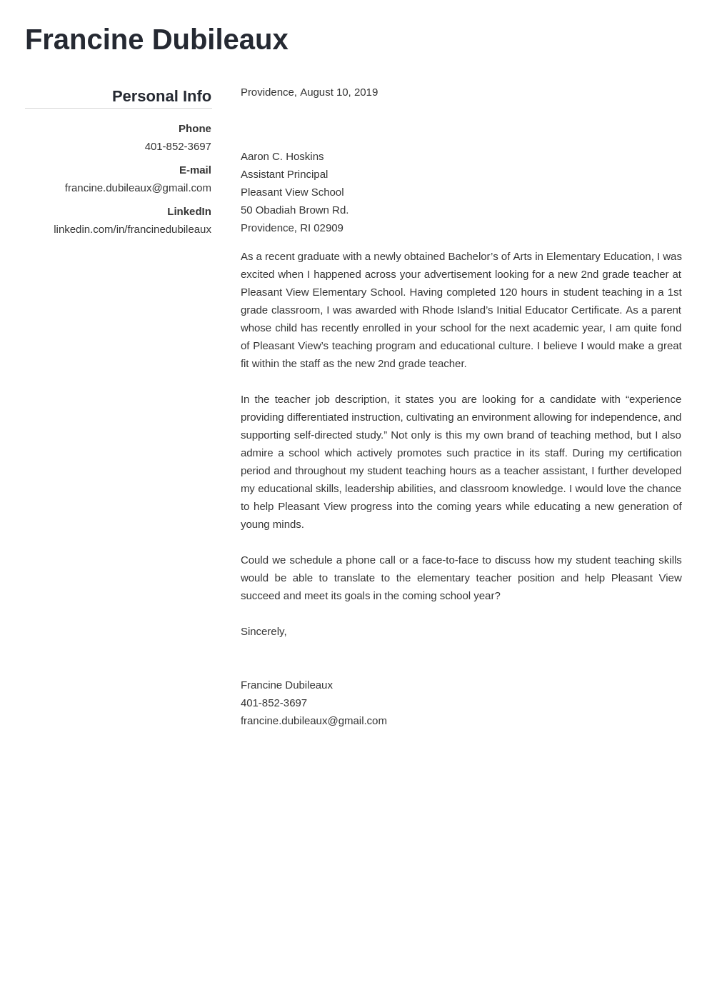 cover letter examples teacher template simple