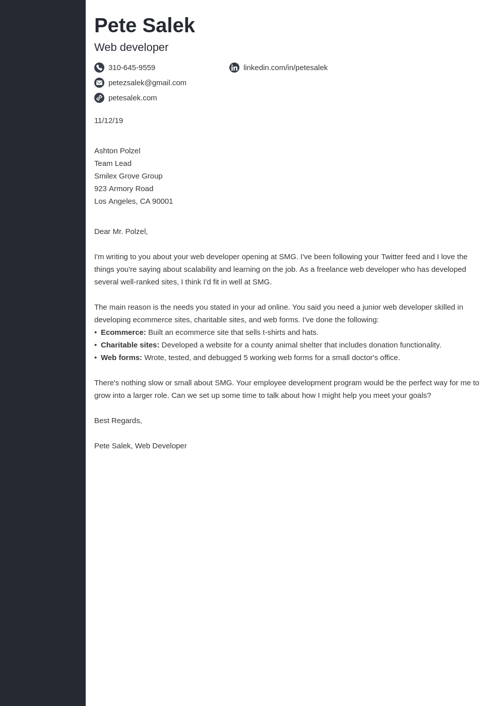 cover letter examples web developer template concept