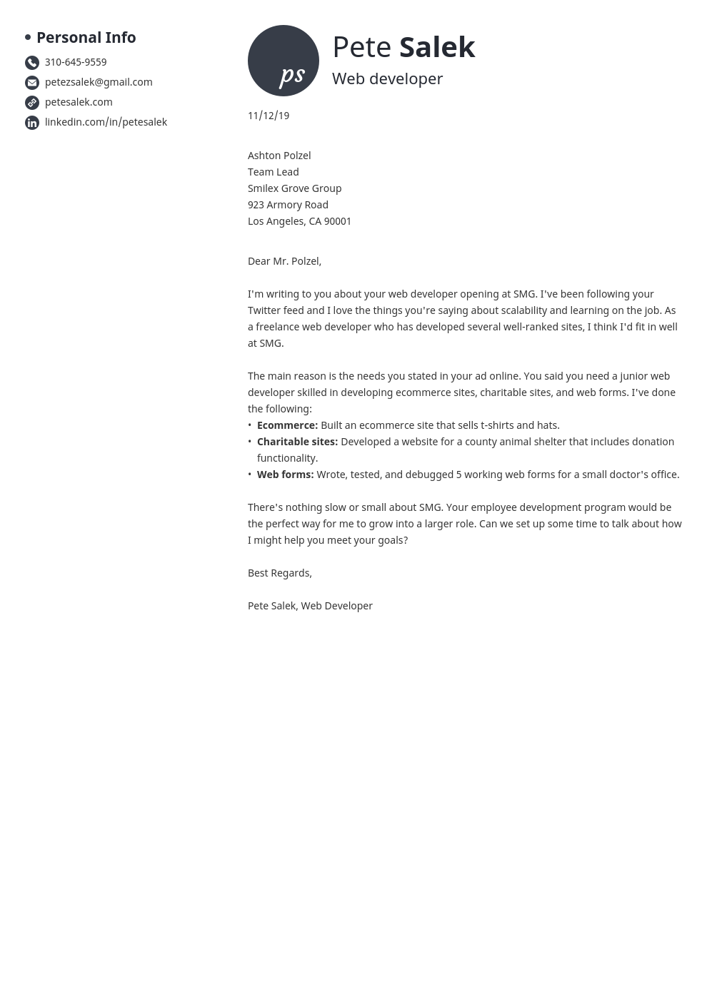 cover letter examples web developer template initials