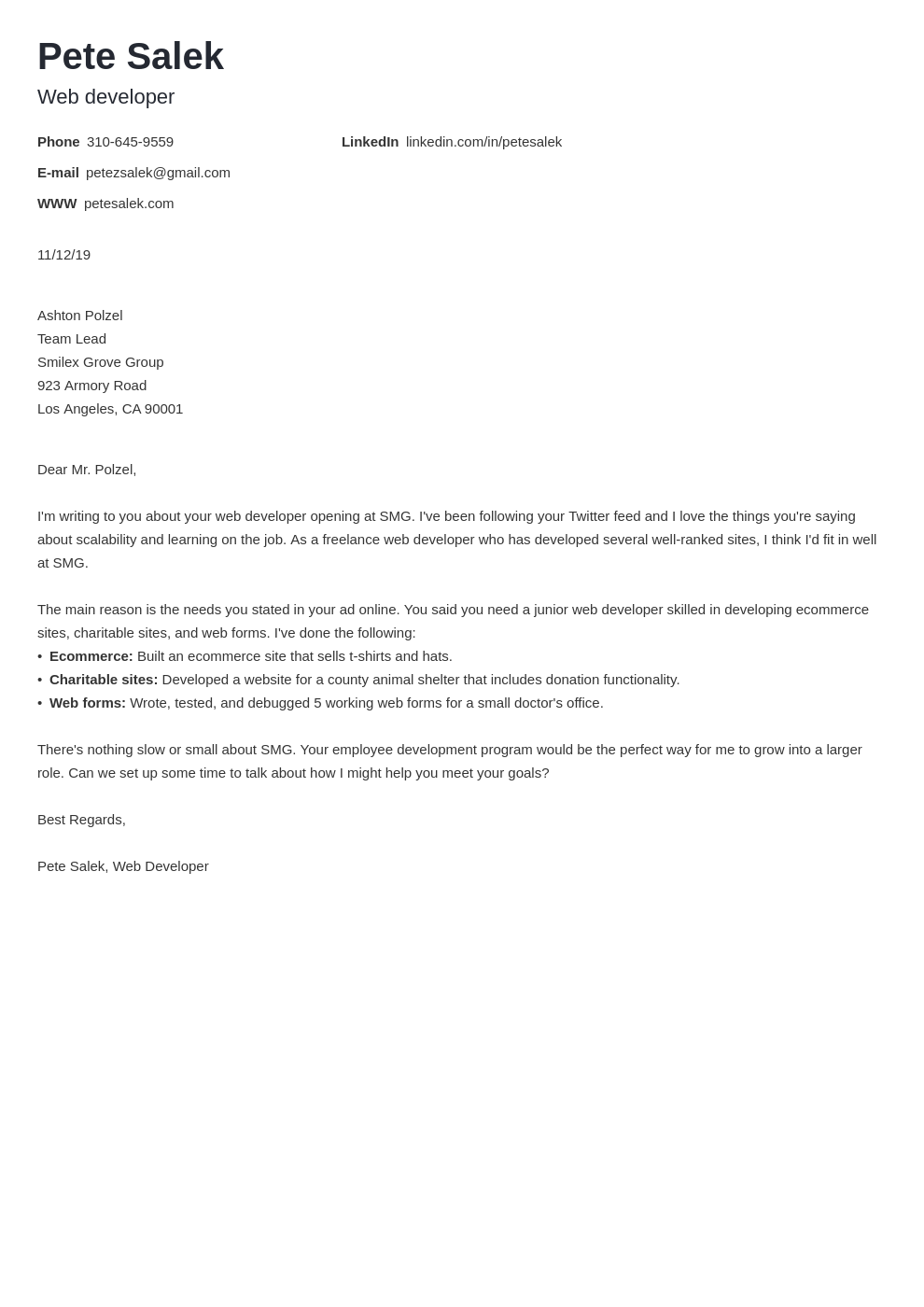 cover letter examples web developer template minimo