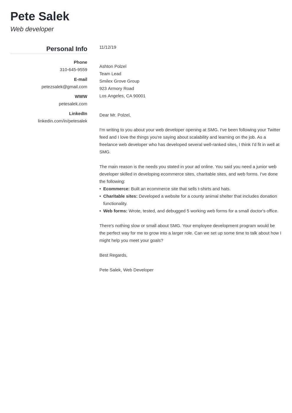 cover letter examples web developer template simple
