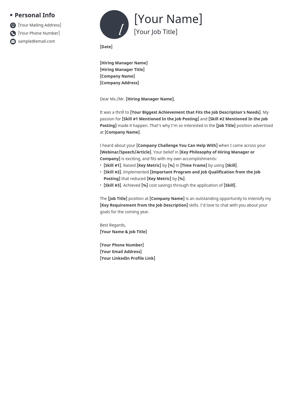 cover letter generic template initials