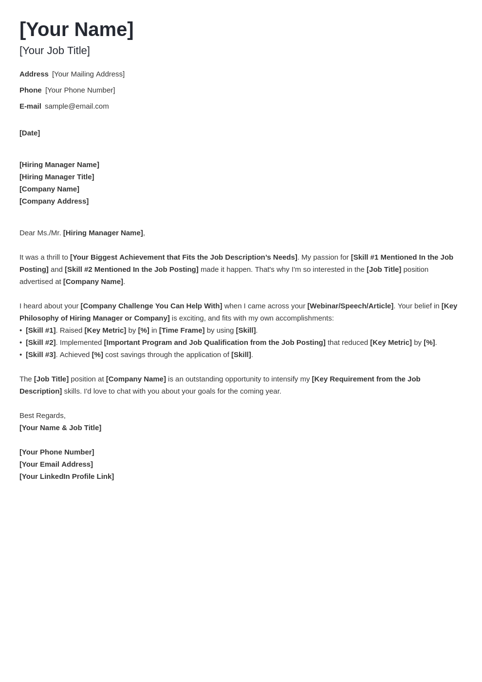 cover letter generic template minimo