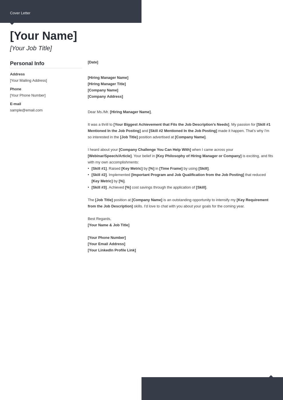 cover letter generic template modern