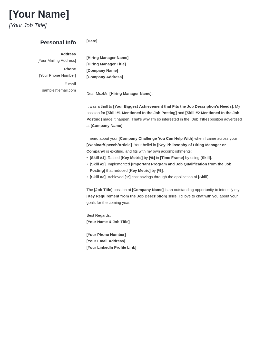 cover letter generic template simple