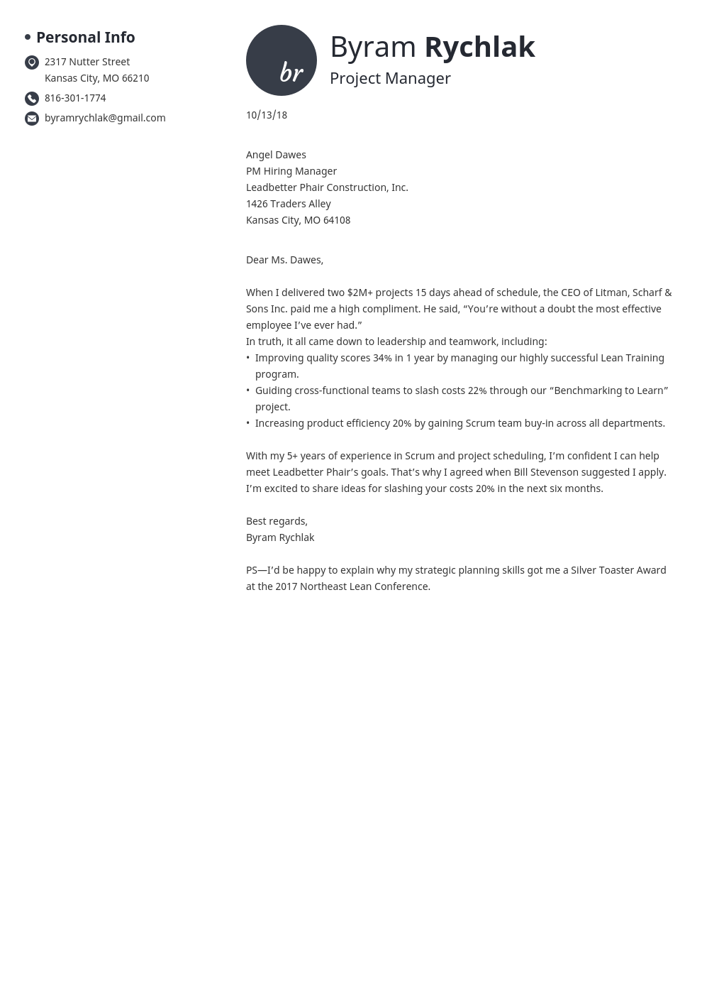 cover letter how to end template initials