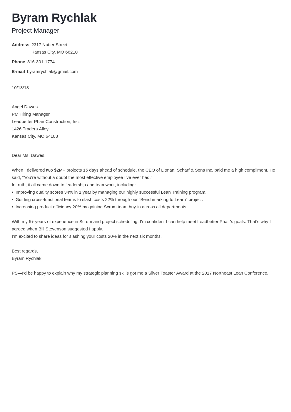 cover letter how to end template minimo