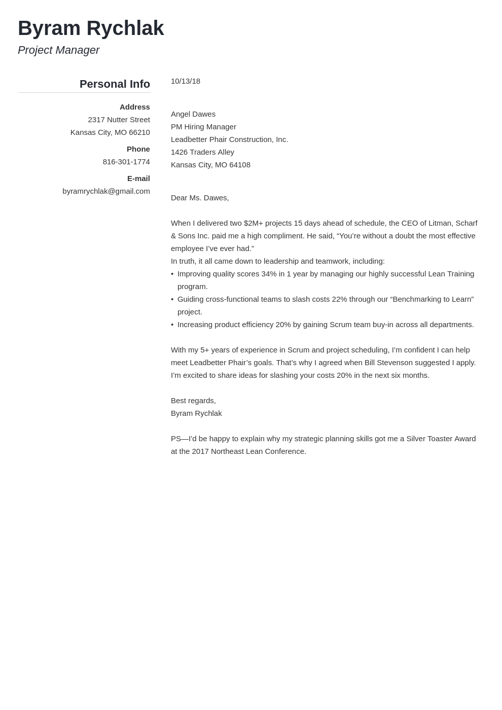 cover letter how to end template simple