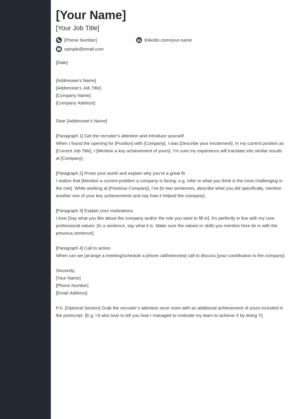 cover letter look template concept