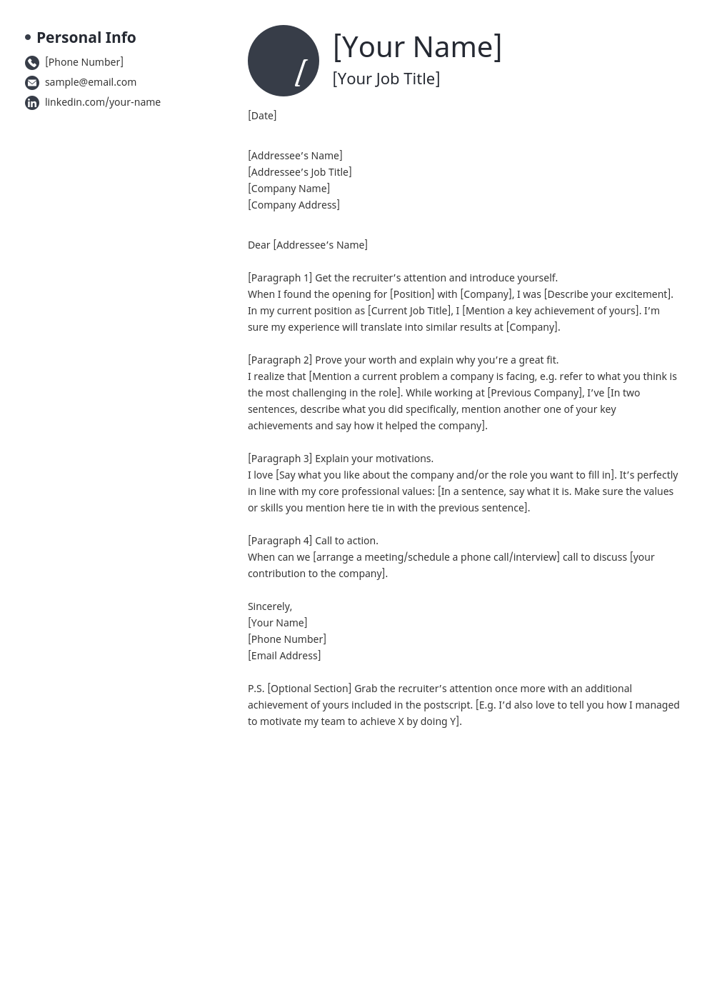 cover letter look template initials