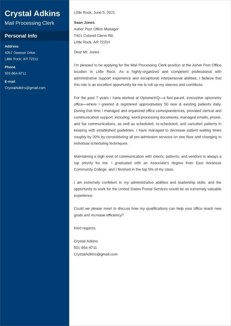usps cover letter templates
