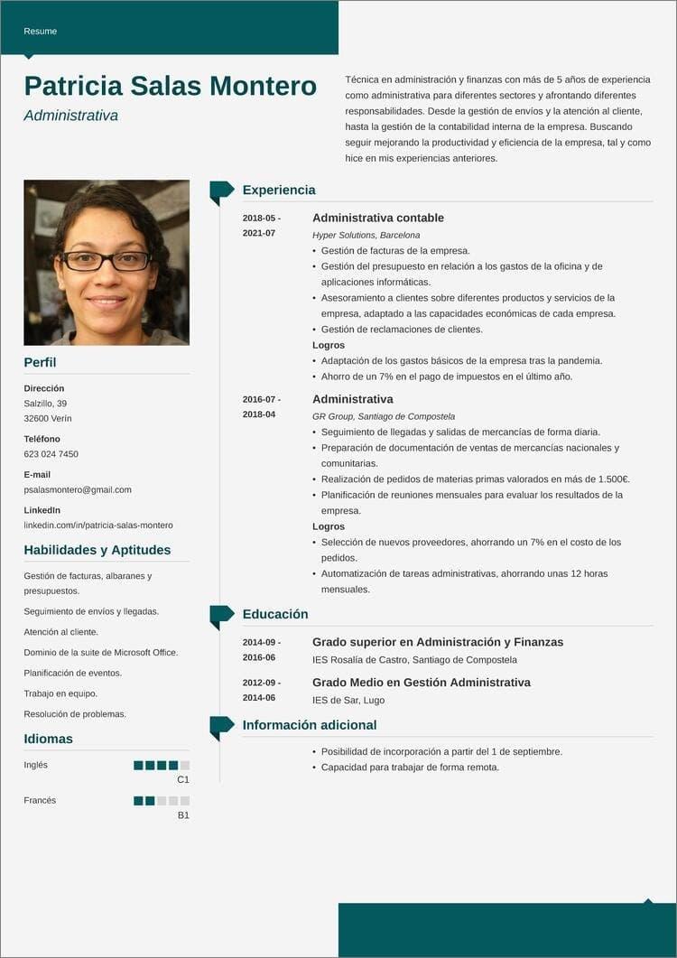 curriculum administrativo