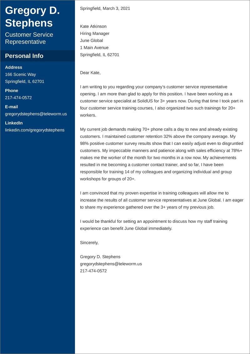 customer service representative cover letter templates
