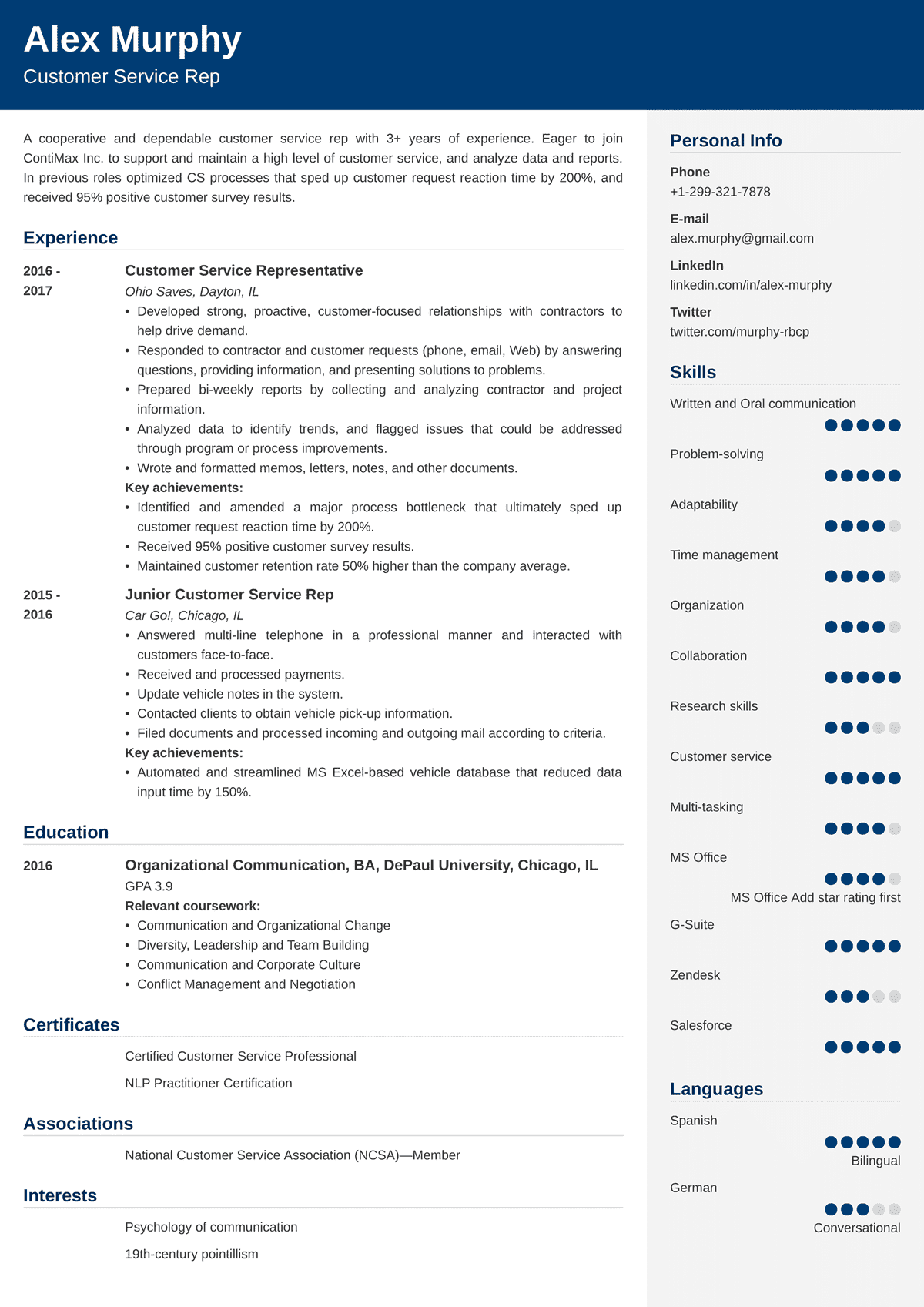 Customer Service Resume Examples Sample And 25 Writing Tips