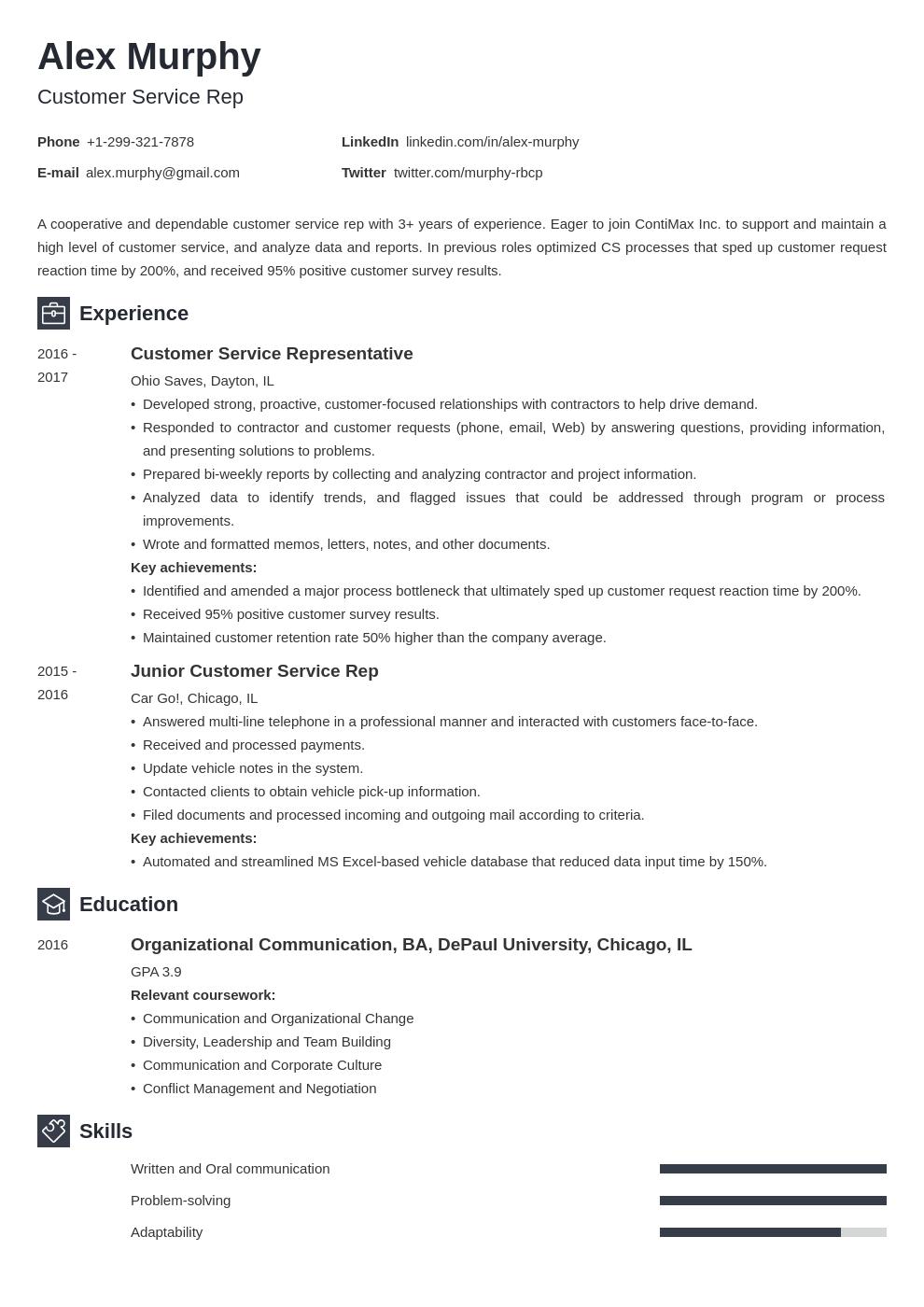 customer service template newcast uk