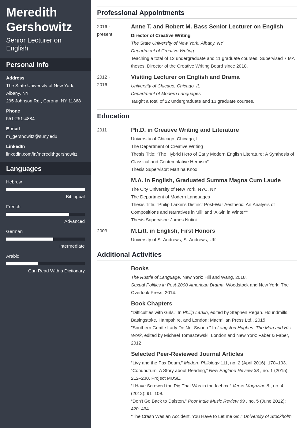 cv academic template cascade