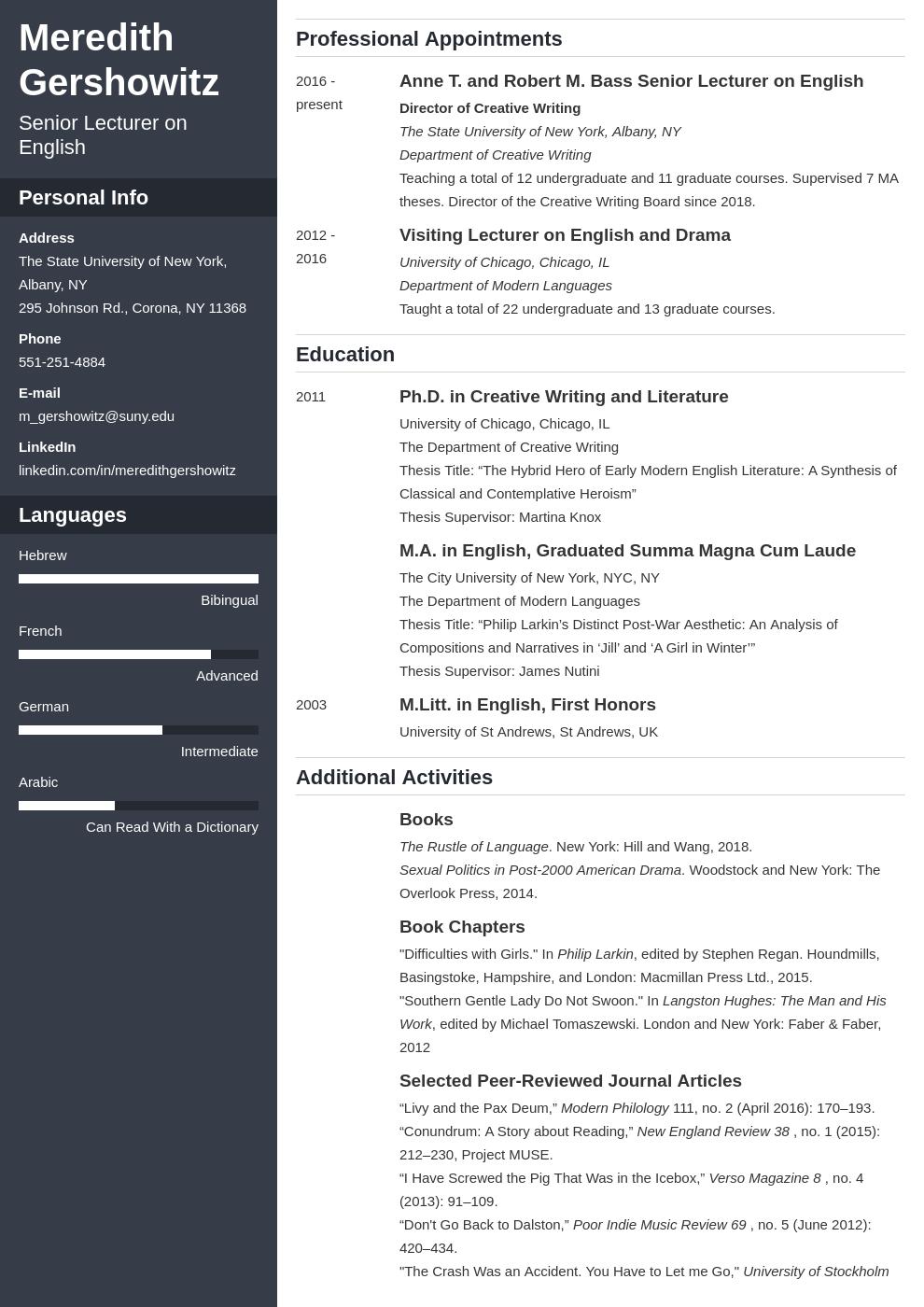 cv academic template cascade uk