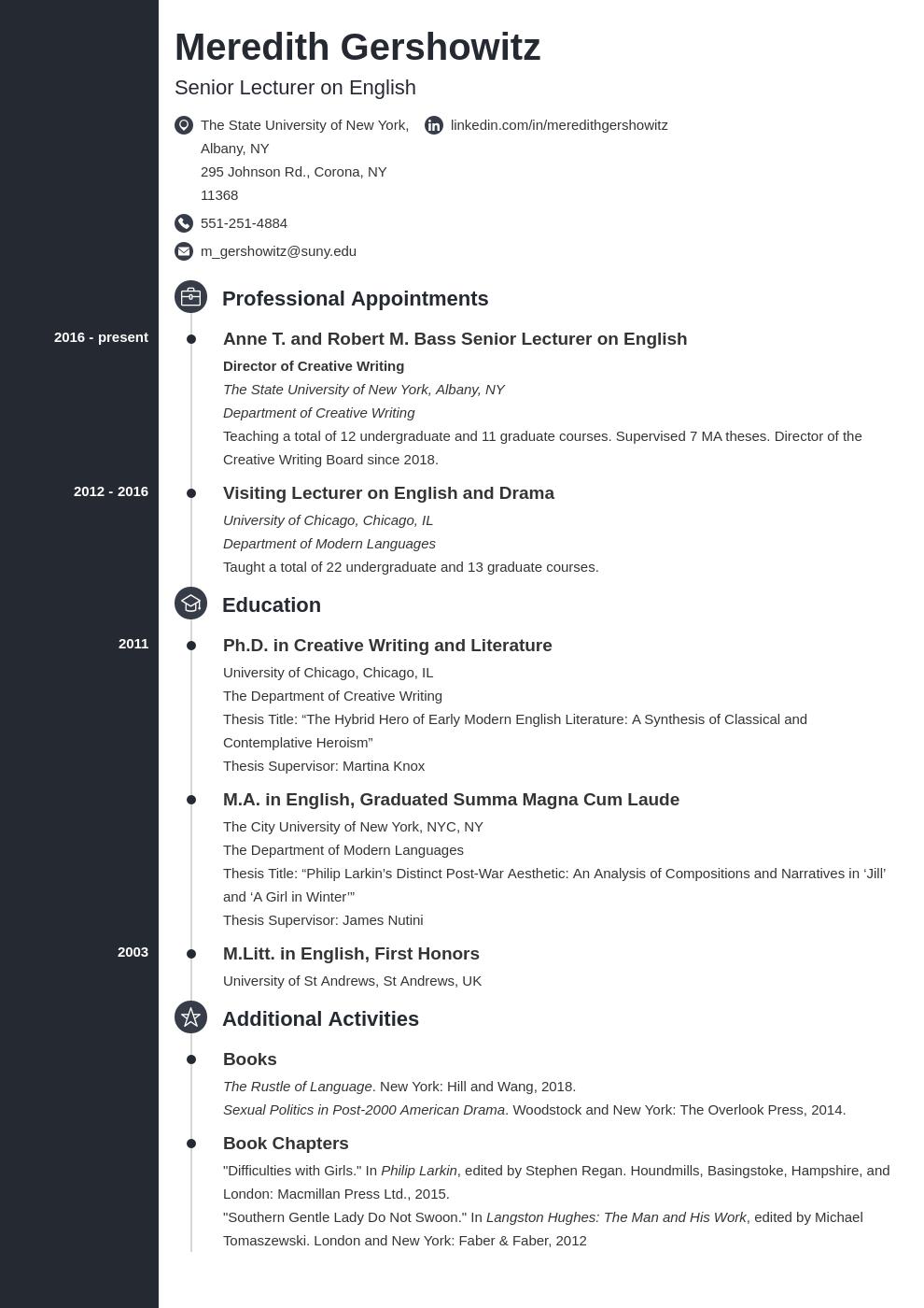 cv academic template concept uk