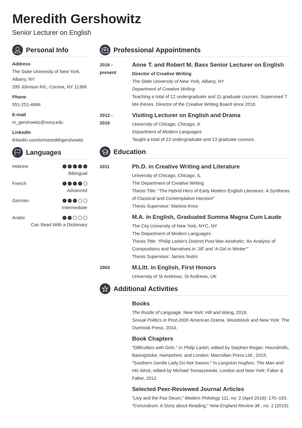 cv academic template crisp uk