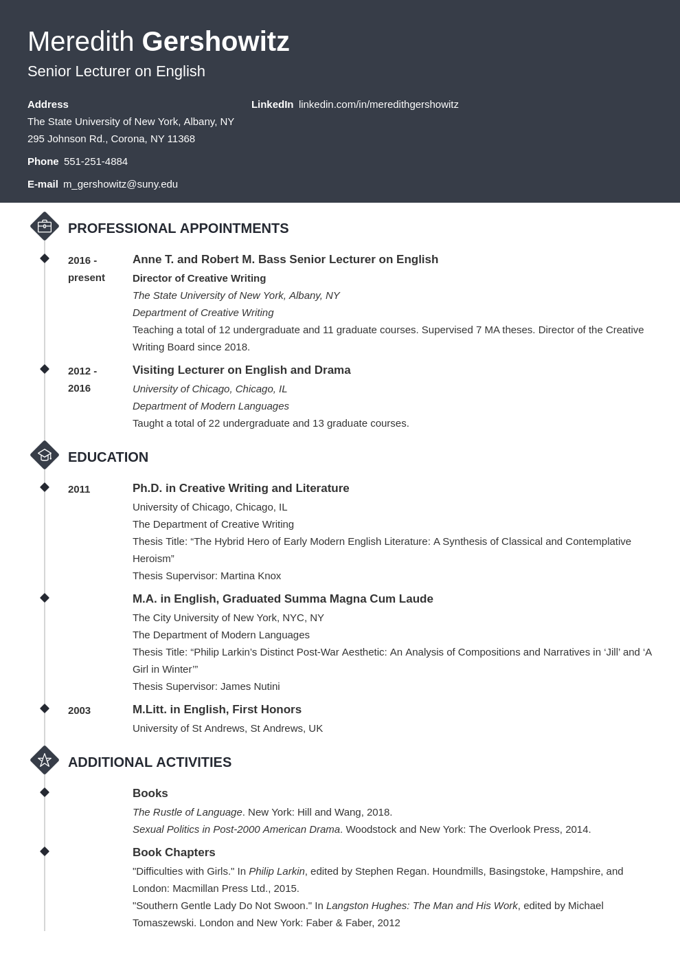 cv academic template diamond