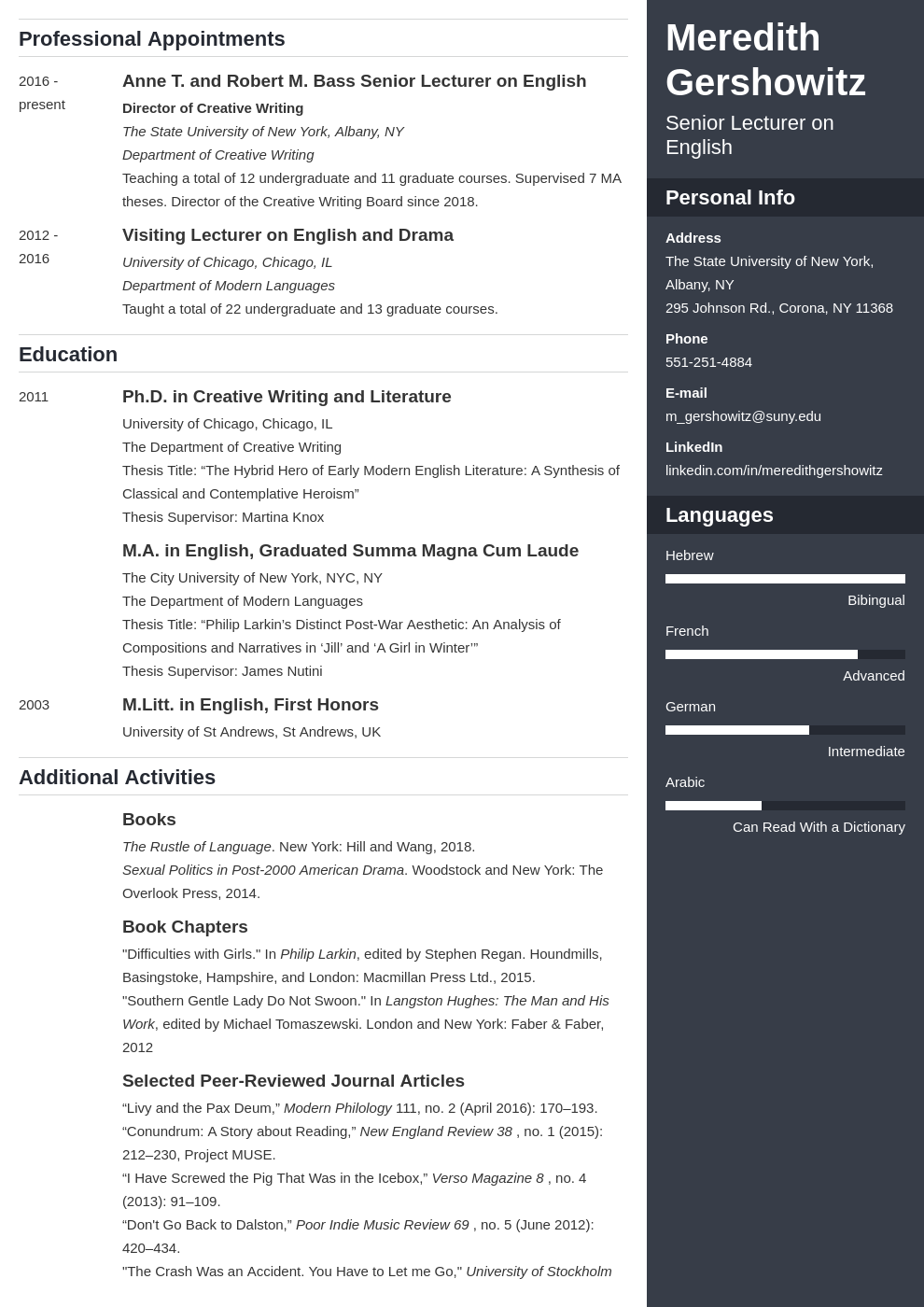 cv academic template enfold