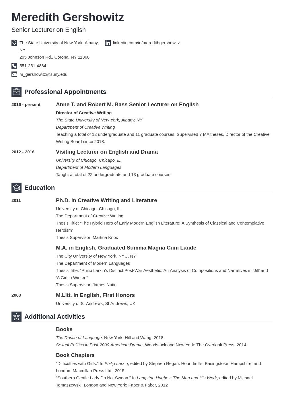 cv academic template iconic uk