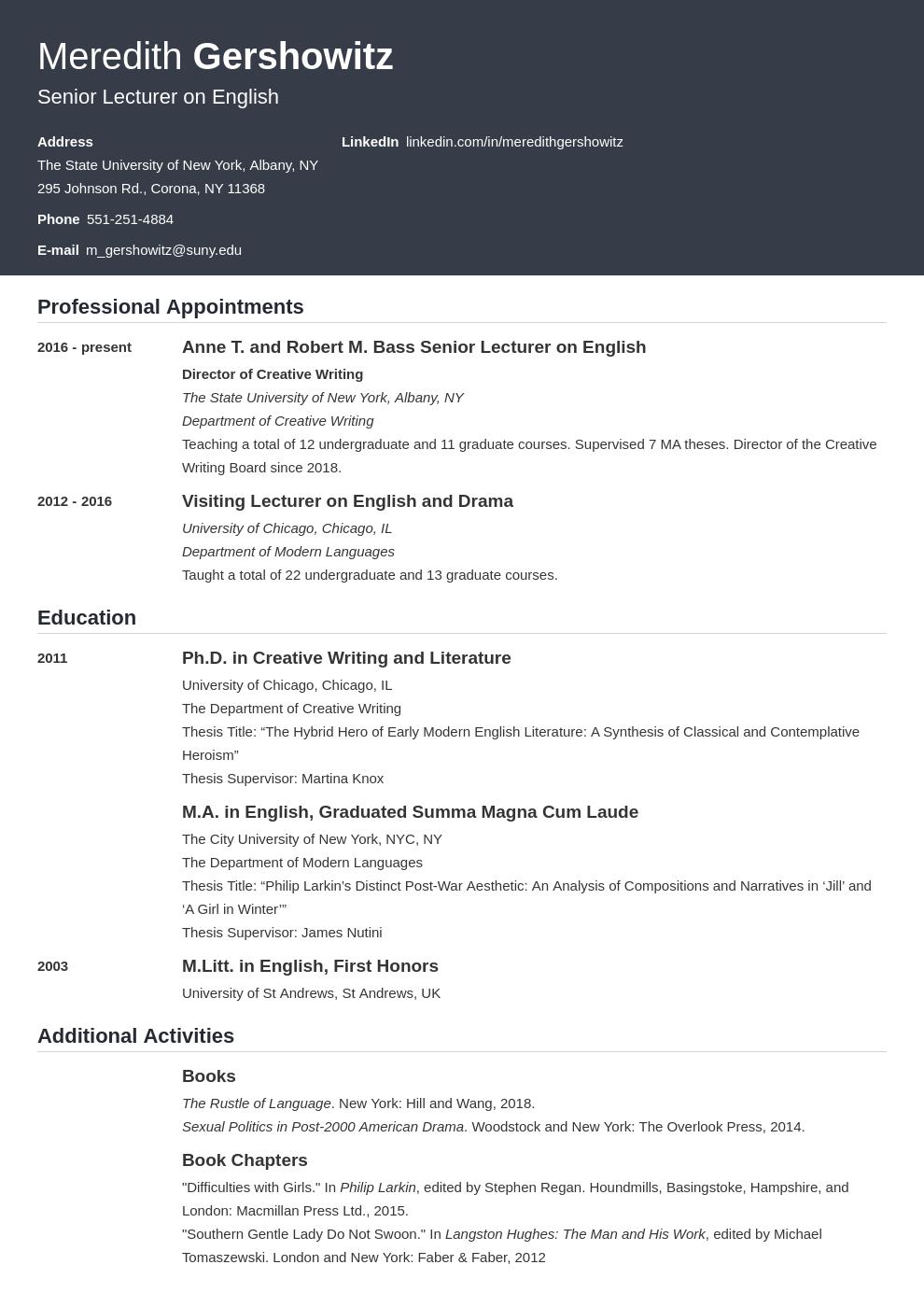 cv academic template influx