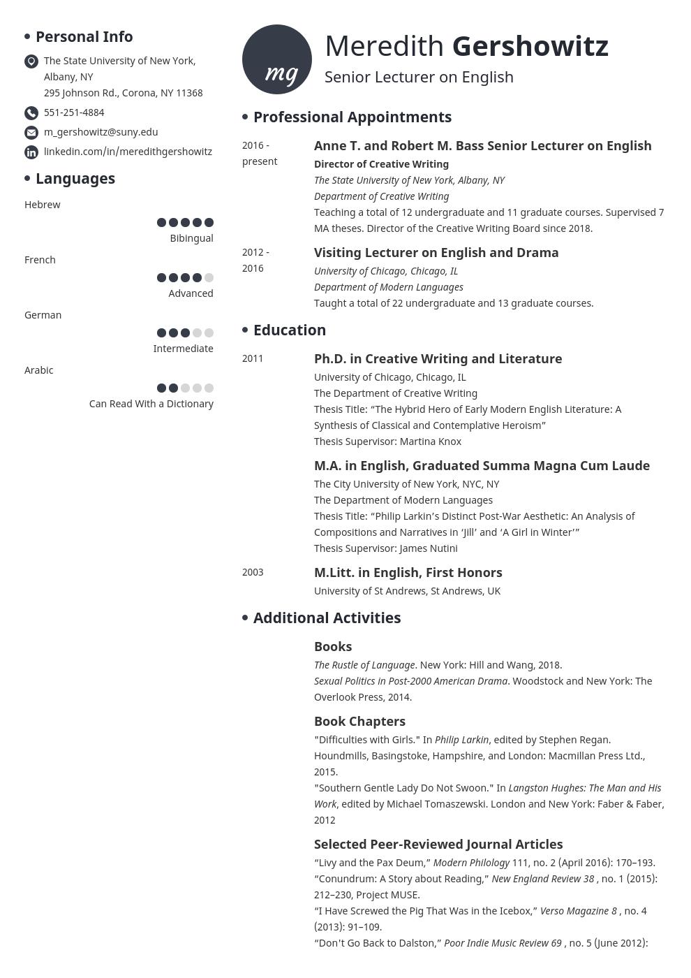 cv academic template initials