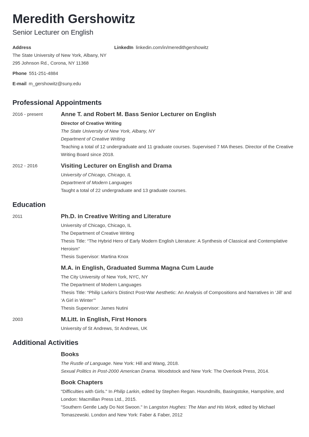 cv academic template minimo uk