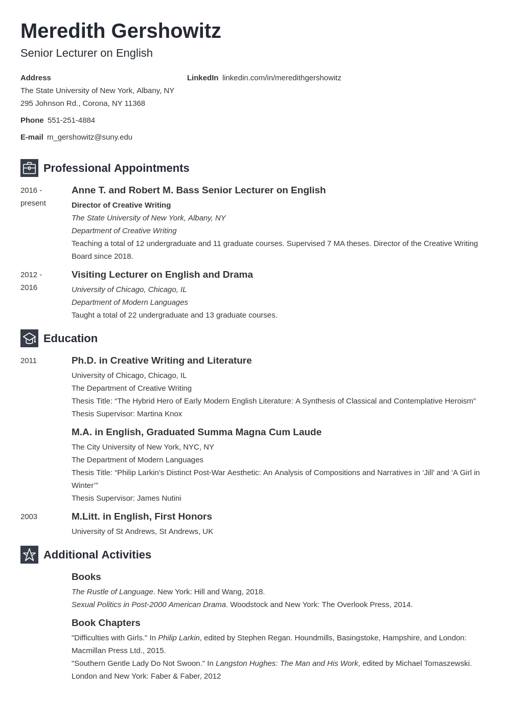 cv academic template newcast