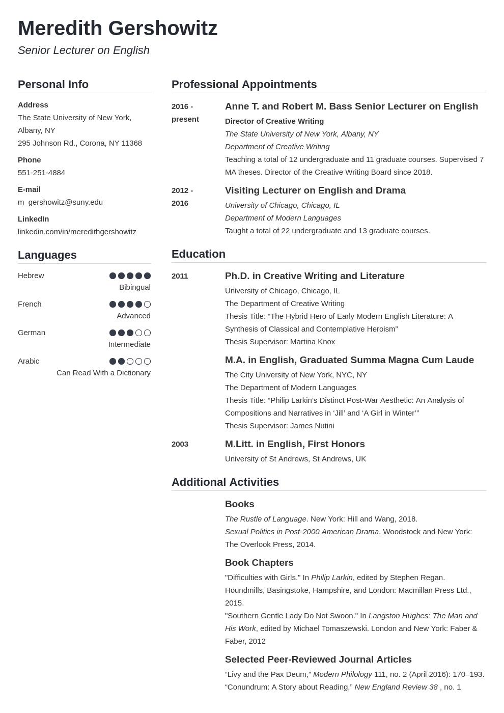 cv academic template simple uk