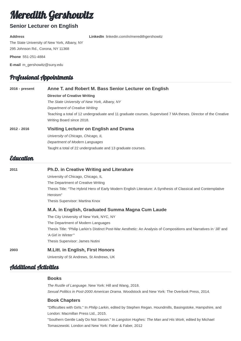 cv academic template valera