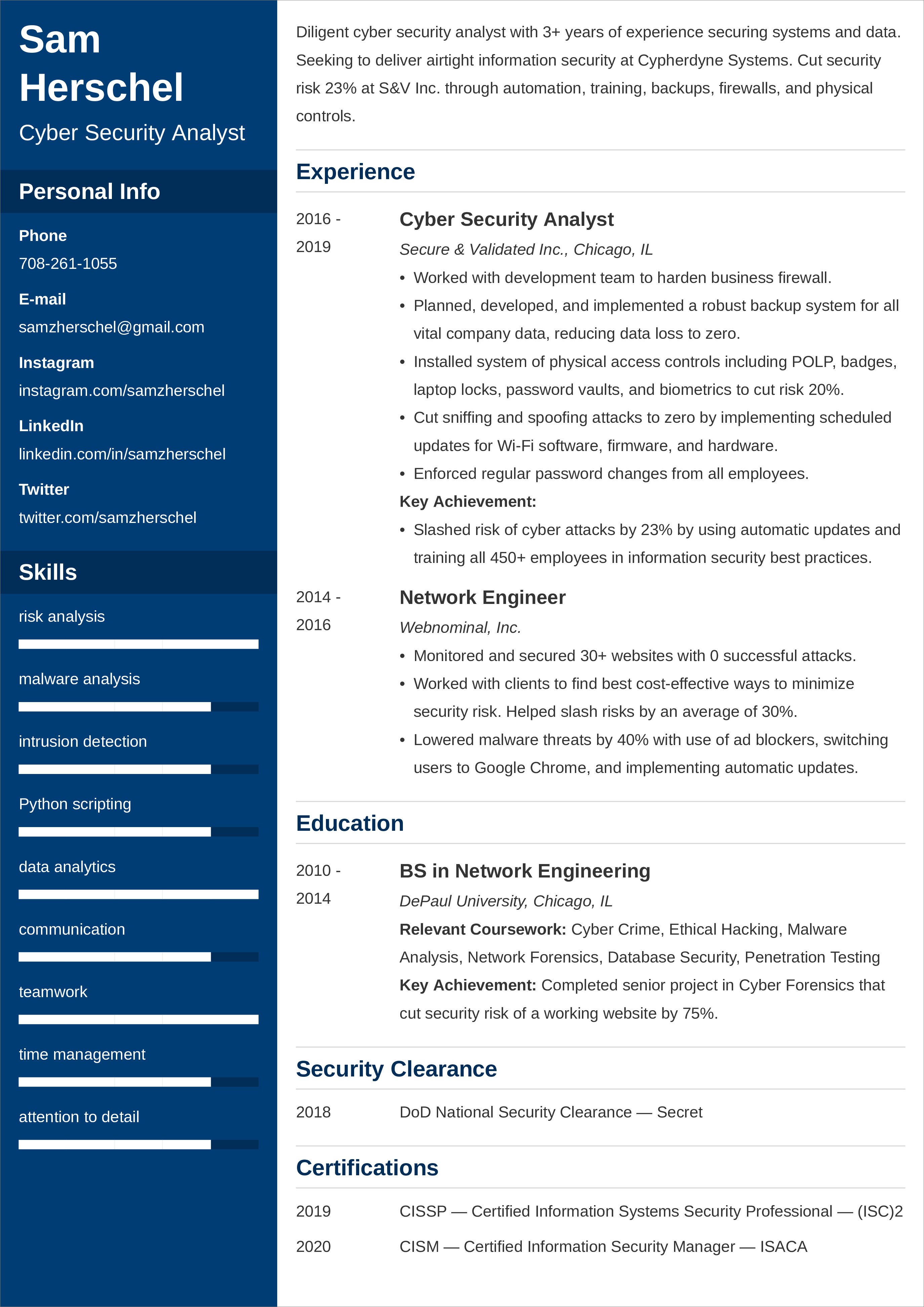cyber security resume u2014examples and 25  writing tips