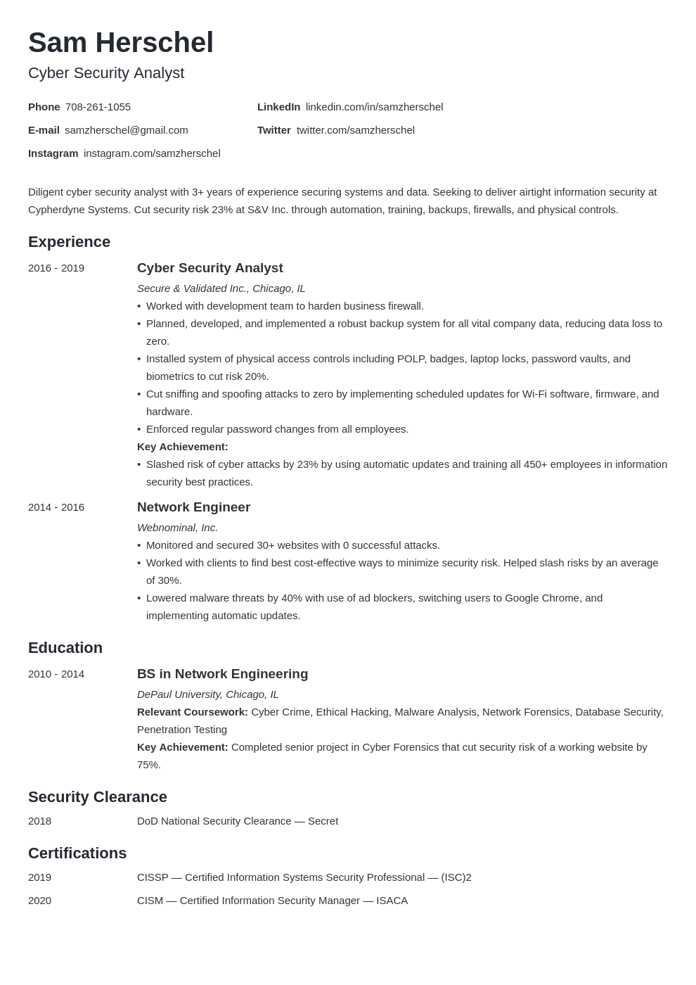 cyber security template minimo