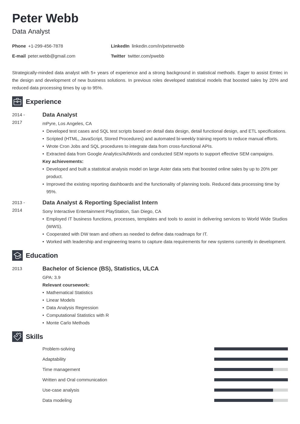 data analyst template newcast uk