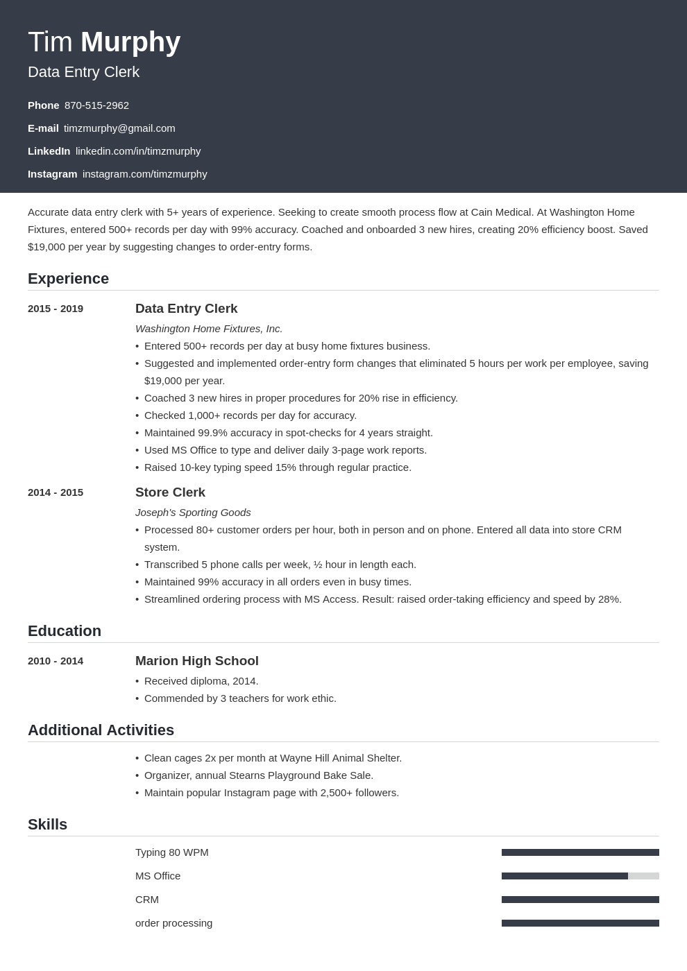 data entry template influx