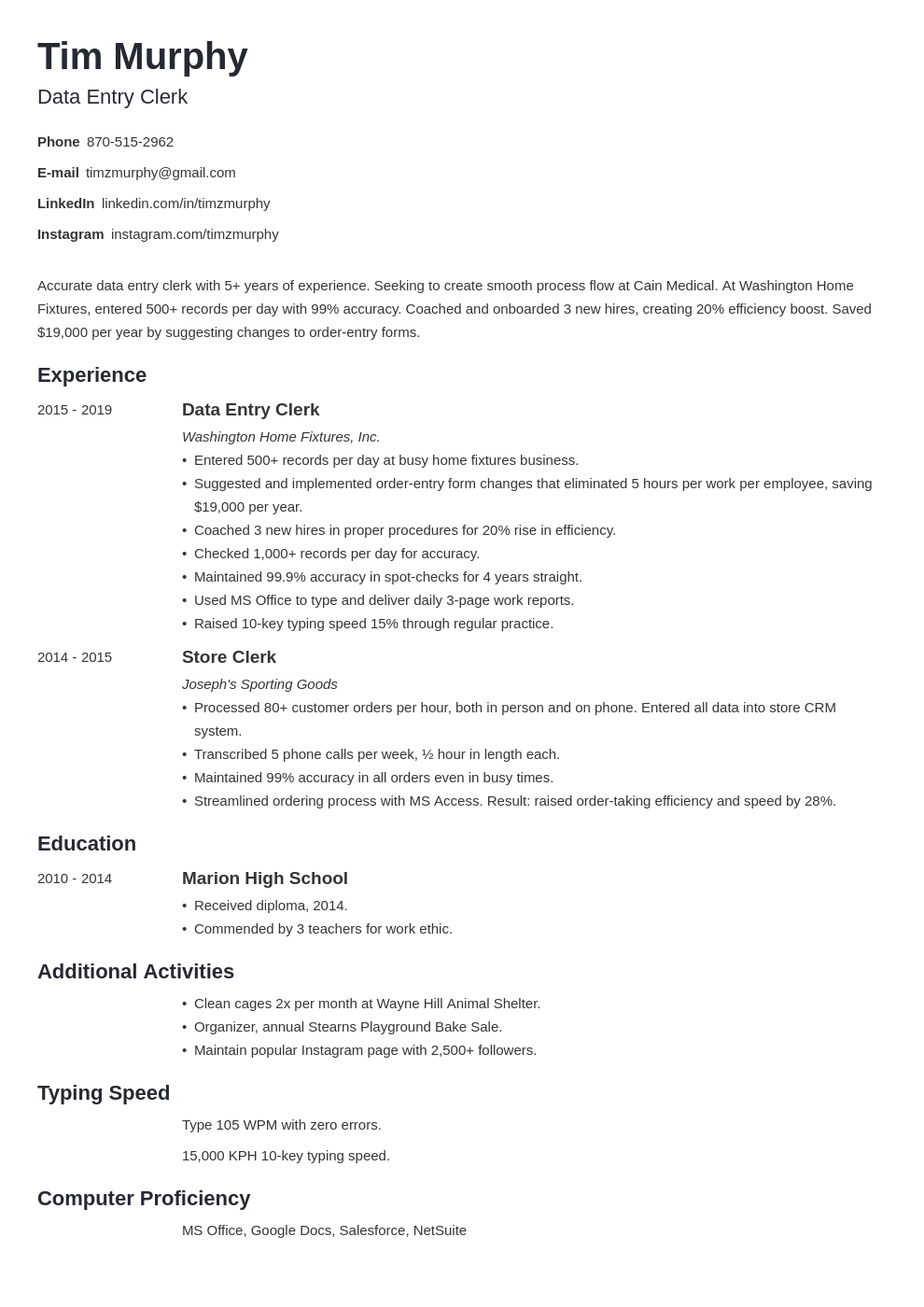 data entry template minimo
