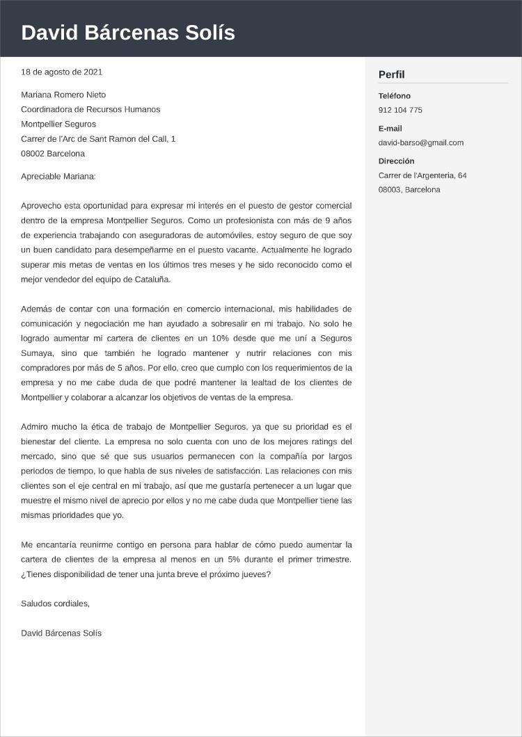 comercial modelos de carta de presentación