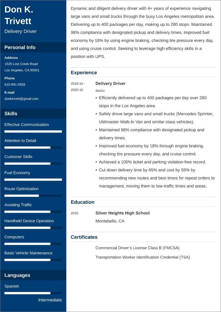 delivery driver CV templates