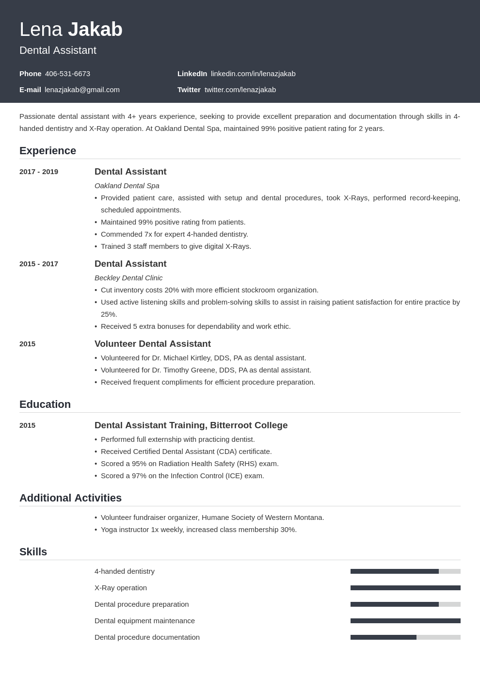 dental assistant template influx