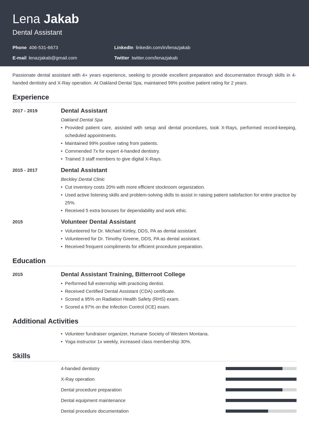 dental assistant template influx uk