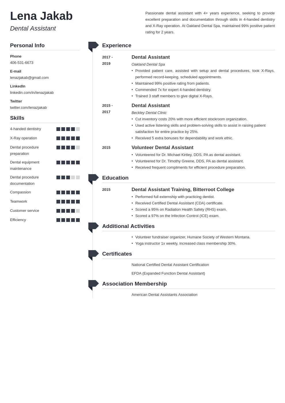 dental assistant template muse