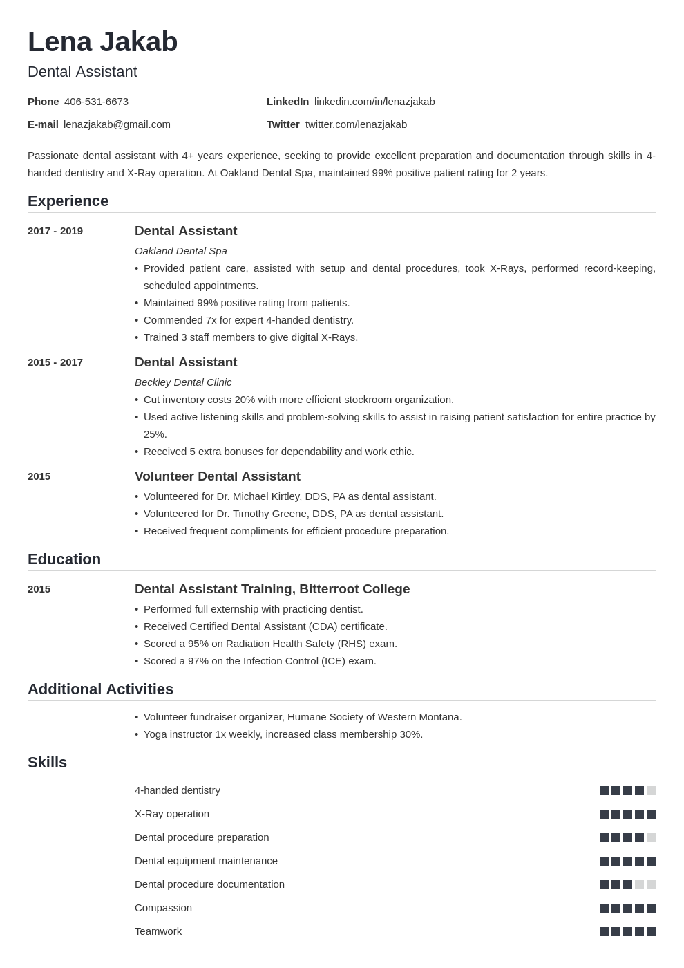 Dental Assistant Resume Sample 20 Examples And Writing Tips
