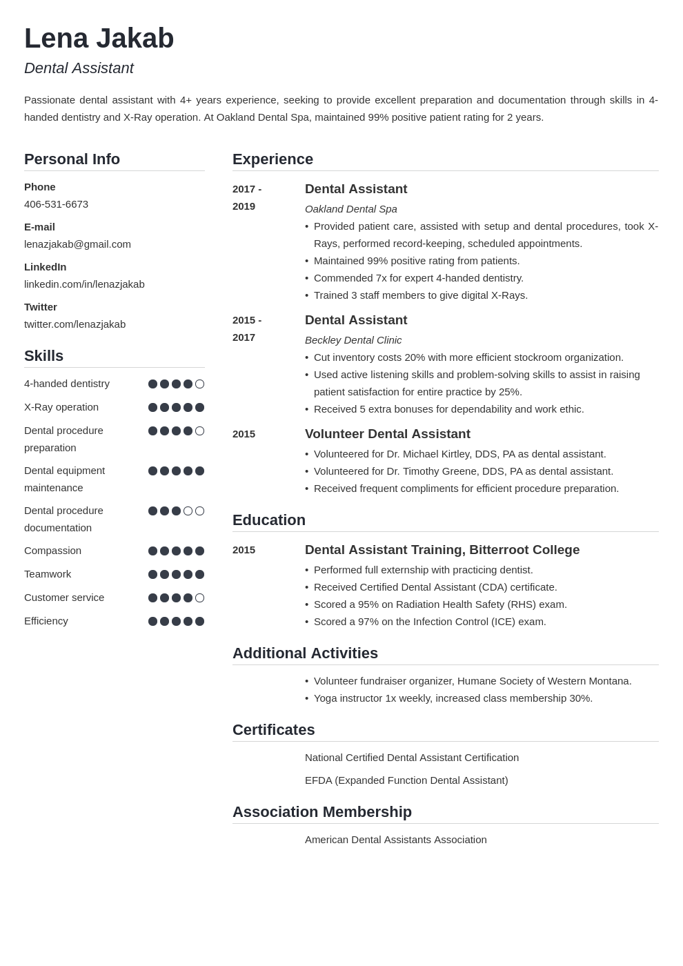 dental assistant template simple