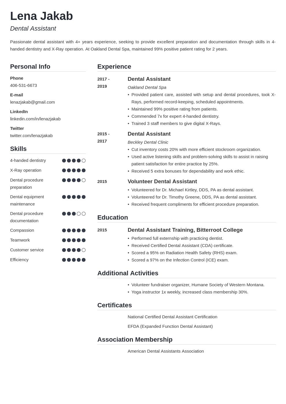 dental assistant template simple uk