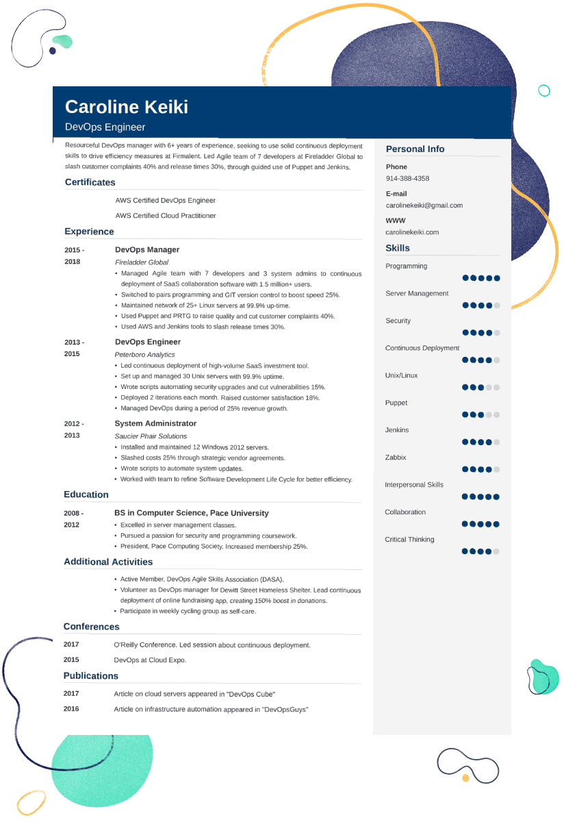 DevOps Resume Sample—Template, 25+ Examples and Writing Tips