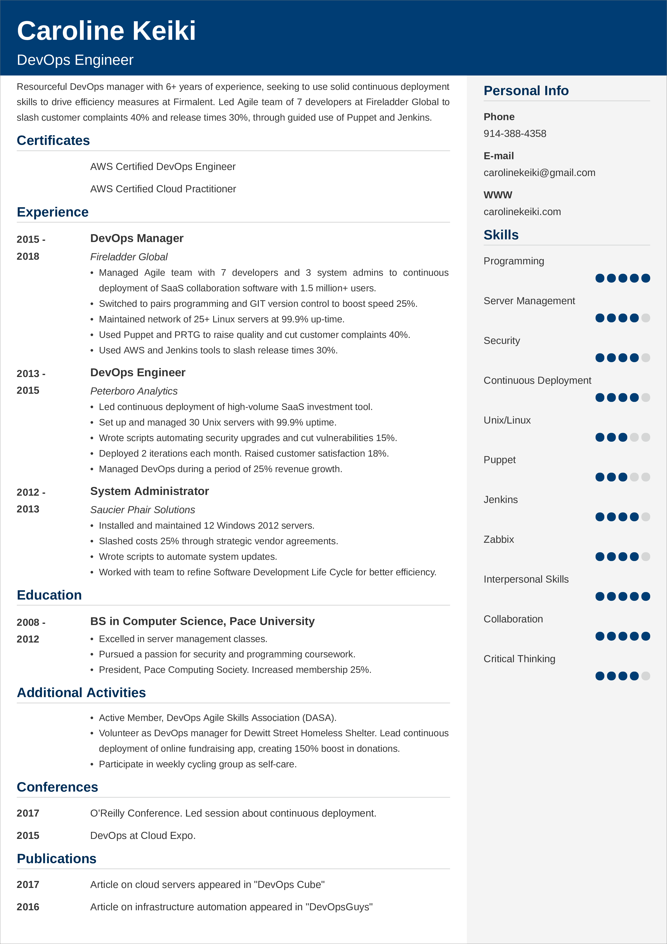 Devops Resume Sample Template 25 Examples And Writing Tips